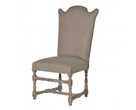 Luxusná vintage čalúnená stolička NATURE vyrezávaná v sivej farbe