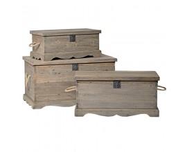 Štýlový set vidieckych troch truhlíc z masívu KOLONIAL z masívneho dreva