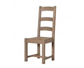 Štýlová masívna jedálenská stolička KOLONIAL zo svetlého dreva s ratanom