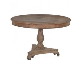 Štýlový vintage okrúhly jedálenský stôl KOLONIAL z masívneho svetlého dreva