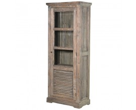 Vidiecka štýlová vintage vitrína KOLONIAL 196cm z masívneho dreva v prírodnej farbe