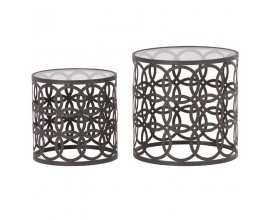 Orientálny set okrúhlych príručných stolíkov Neroliano čiernom prevedení 50cm