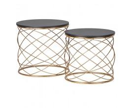 Art-deco set dvoch príručných stolíkov Erny s čiernou kruhovou doskou a zlatou konštrukciou 46cm