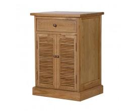 Elegantný masívny nočný stolík Alberton obdĺžnikového tvaru so zásuvkou a dvierkami hnedej farby