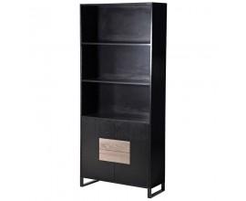 Moderná drevená knižnica Leniar čiernej farby s poličkami a dvierkami 201cm