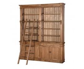Luxusná rustikálna knižnica Oakley z masívneho dubového dreva hnedej farby s rebríkom