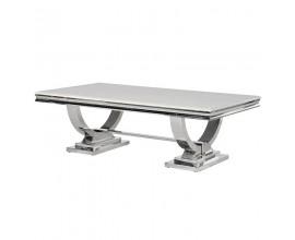 Art-deco chrómový mramorový konferenčný stolík Shantay z kovu 130cm