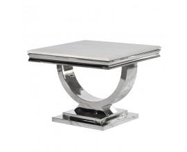Art-deco chrómový mramorový príručný stolík Shantay z kovu 60cm