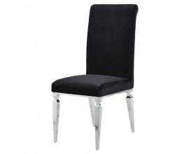 Art-deco luxusná jedálenská stolička Shantay z čierneho zamatu 104cm