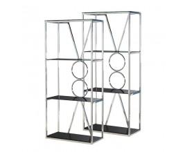 Art-deco set dekoratívnych chrómových knižníc Mercuria s poličkami z čierneho skla 181,5cm