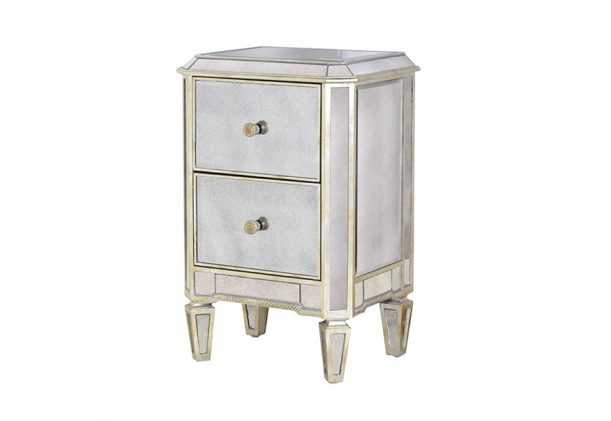 Luxusný zrkadlový nočný stolík Granada Old