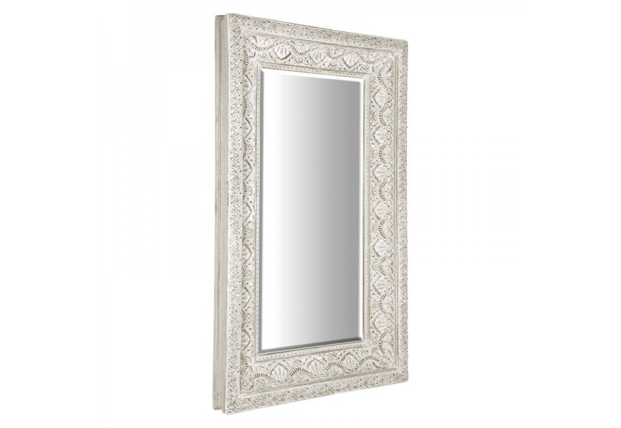 Provensálske nástenné zrkadlo Venice s ozdobným rámom bielej farby 233cm
