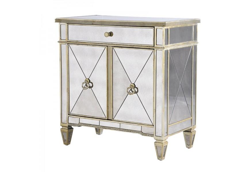 Dizajnová a štýlová zrkadlová skrinka Granada Old so zlatými aplikáciami