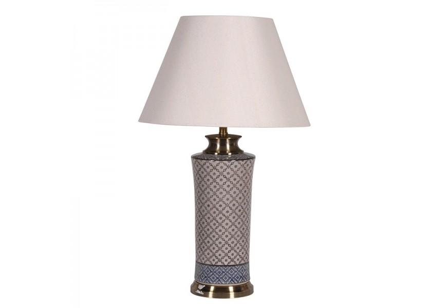 Nádherná orientálna porcelánová stolná lampa Ornatta so vzorovanou podstavou so zlatým akcentom a bielym tienidlom