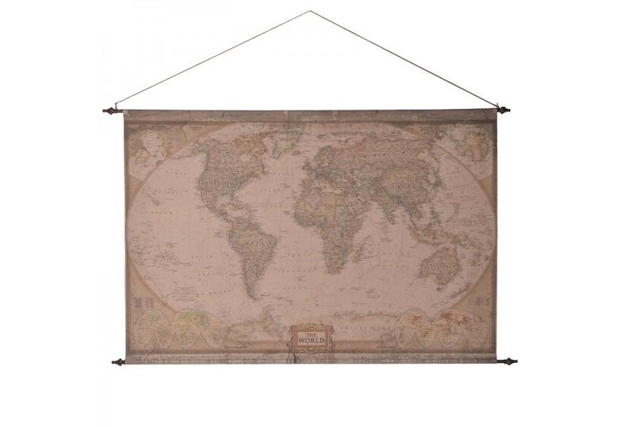 Látková starožitná závesná mapa sveta 212cm
