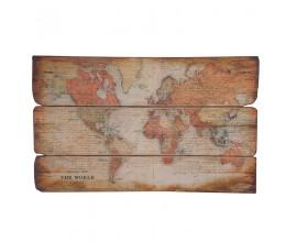 Štýlová drevená plaketa The World 120cm