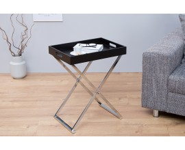 Dizajnový odkladací stolík Valet s podnosom čierny