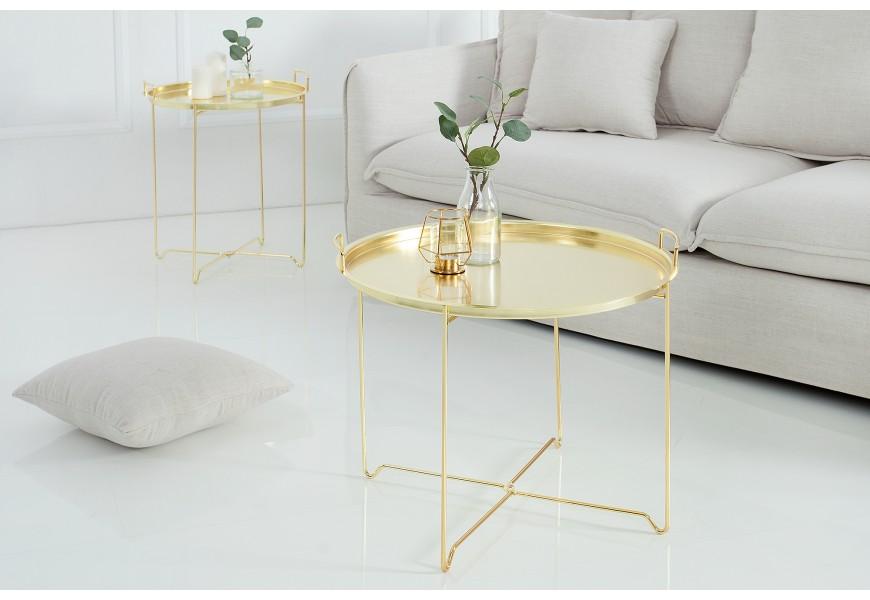 Dizajnový zlatý príručný stolík Marrakesh