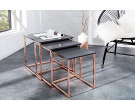 Štýlový moderný konferenčný stolík New Fusion set 3ks meď