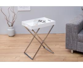 Dizajnový odkladací stolík Valet s podnosom biely