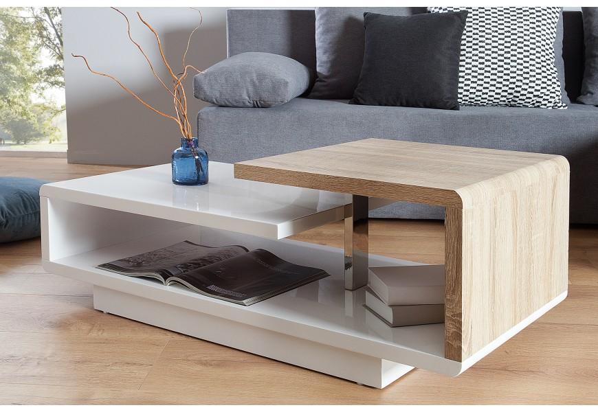 Asymetrický dizajnový stolík ideálny do moderne zariadených interiérov