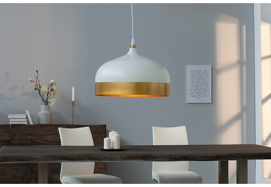 Dizajnová závesná lampa Modern Chic II bielo-zlatá