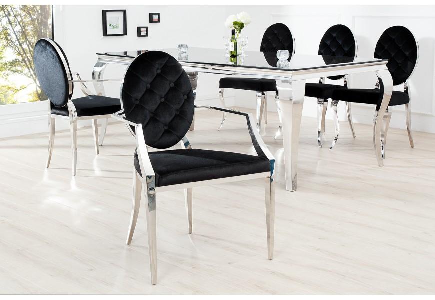 Luxusná jedálenská stolička Modern Barock II čierna s opierkami