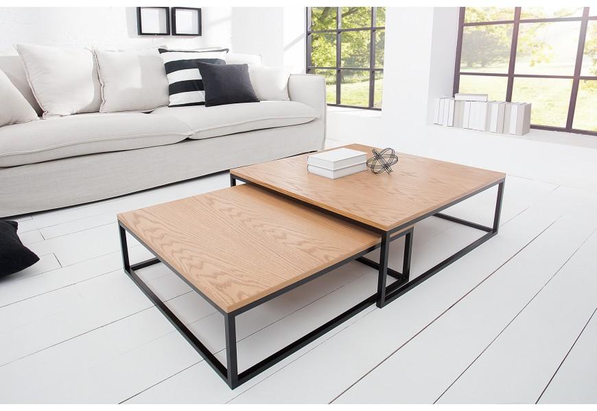 Moderne spracované konferenčné stolíky z kovu a dubovej dyhy