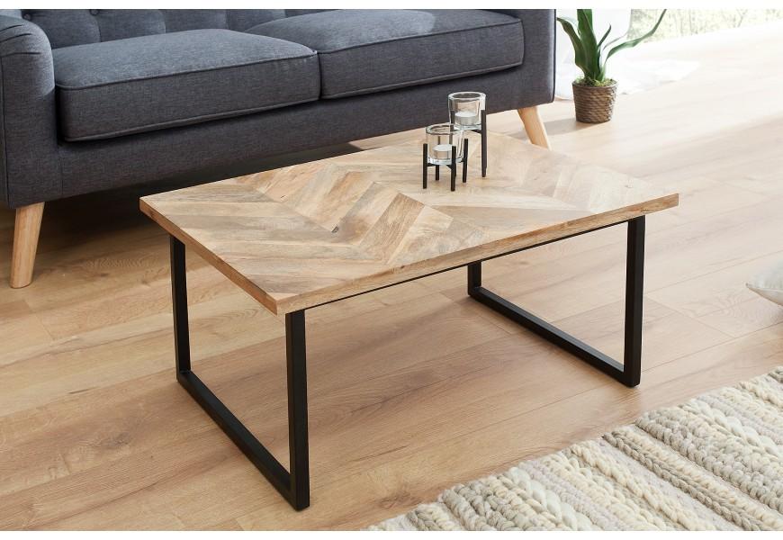 Jednoduchý a nadčasový stolík z kovu a masívneho dreva Fusion
