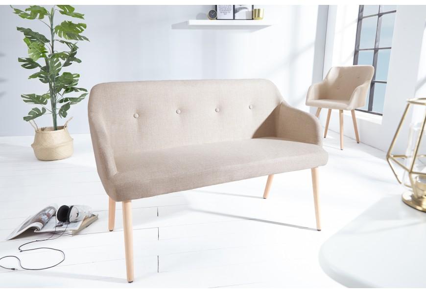 Štýlová lavica Scandinavia 116cm béžová