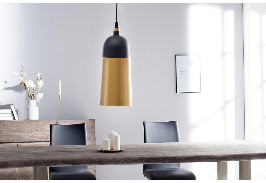 Dizajnová závesná lampa Modern Chic čierno-zlatá