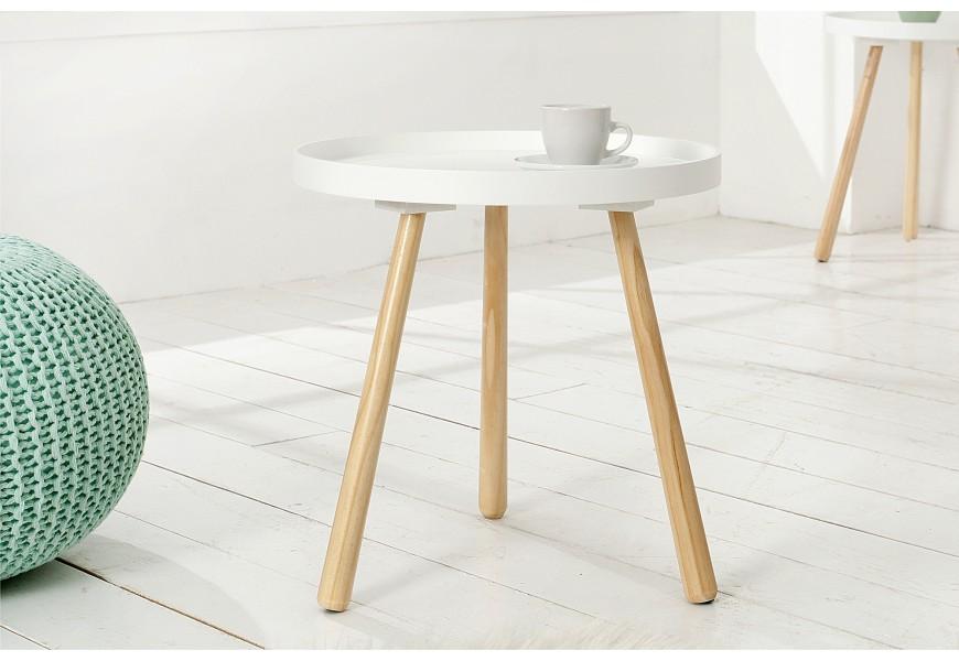Štýlový príručný stolík Scandinavia 40cm biely