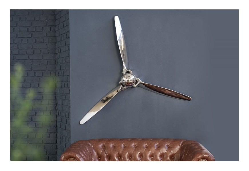 Dizajnová nástenná dekorácia Vrtuľa 60cm strieborná