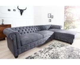 Luxusná rohová pohovka Chesterfield antická šedá (pravý roh)