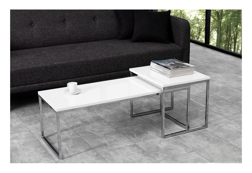 Dizajnový set moderných stolíkov Nobile biely