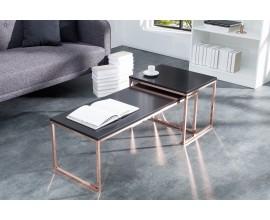 Dizajnový set moderných stolíkov Nobile čierna/meď