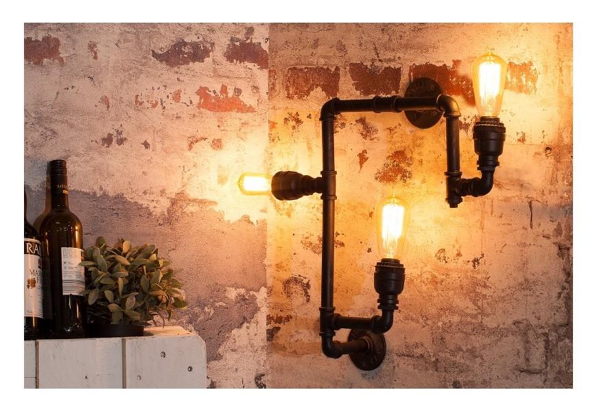 Dizajnová industriálna lampa Hot Pipe II čierna