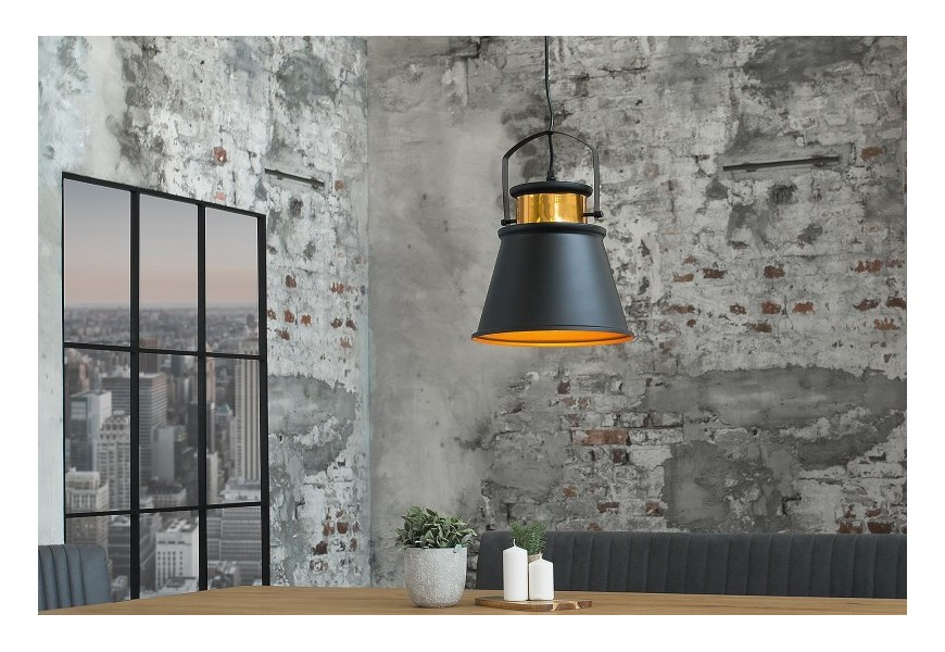 Štýlové industriálne svietidlo LUZ II čierno/zlaté