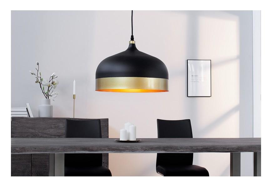 Dizajnová závesná lampa Modern Chic II čierno-zlatá