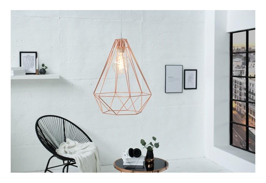 Dizajnová závesná lampa Cage L medená