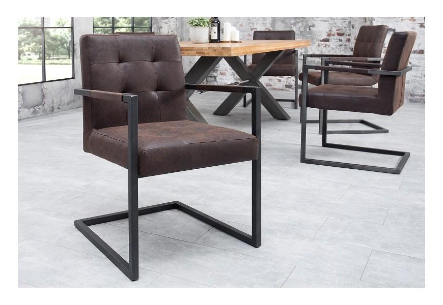 Dizajnová jedálenská stolička Rodeo vintage brown kožená
