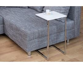 Štýlový príručný stolík Simply bielo-strieborný