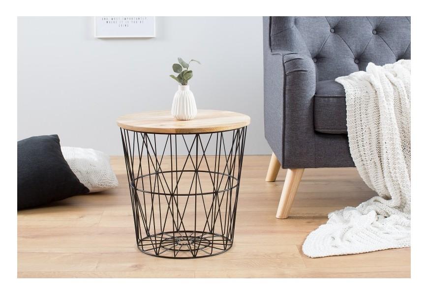 Dizajnový príručný stolík Storage 42cm čierny