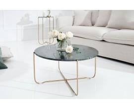Jedinečný dizajnový konferenčný stolík Jaspe zelený mramor/zlatá