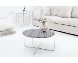Jedinečný dizajnový konferenčný stolík Jaspe šedý mramor/strieborná