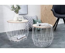 Set dizajnových príručných stolíkov Storage biela/dub