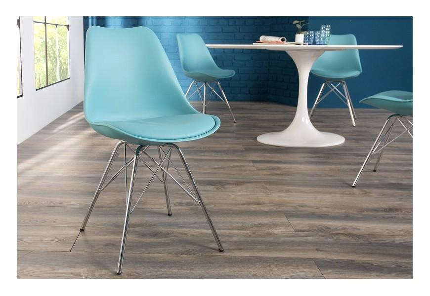 Dizajnová stolička Scandinavia Retro tyrkysová