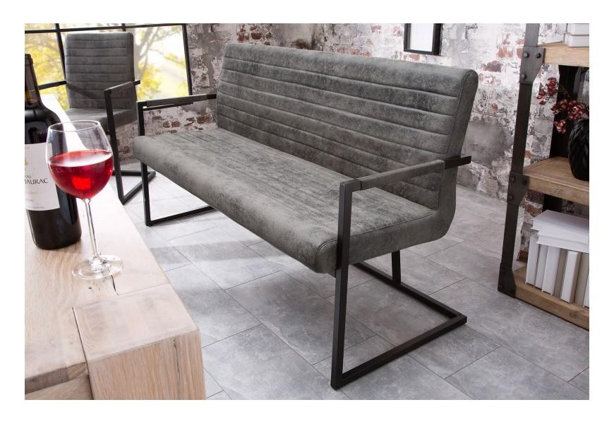 Dizajnová prešívaná lavica Imperial 160cm šedá