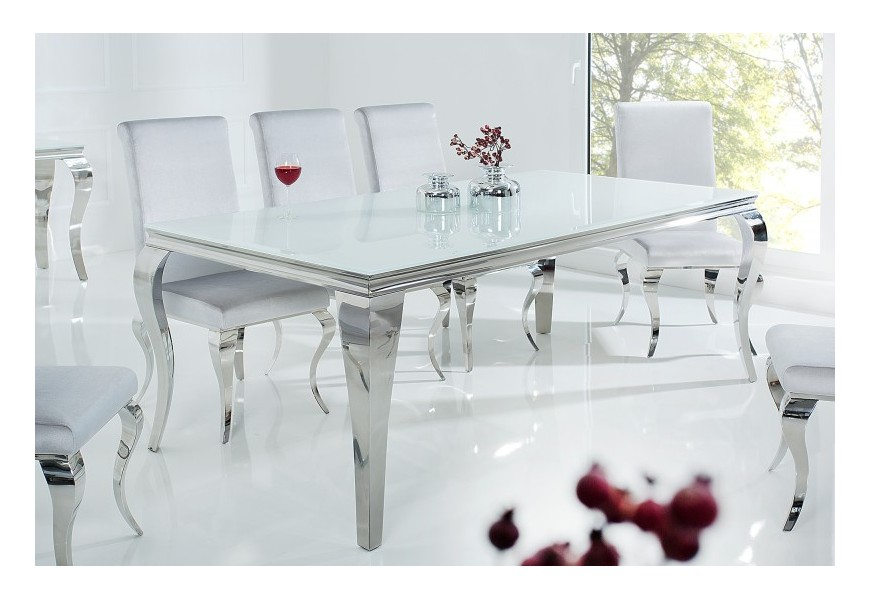 Exkluzívny jedálenský stôl Modern Barock v striebornobielej kombinácii