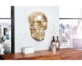 Dizajnová extravagantná nástenná lebka 40cm zlatá
